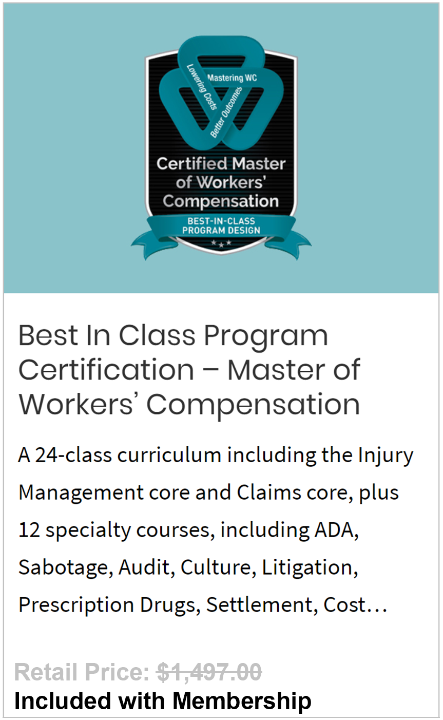 Best In Class Program Certification – Master of Workers' Compensation