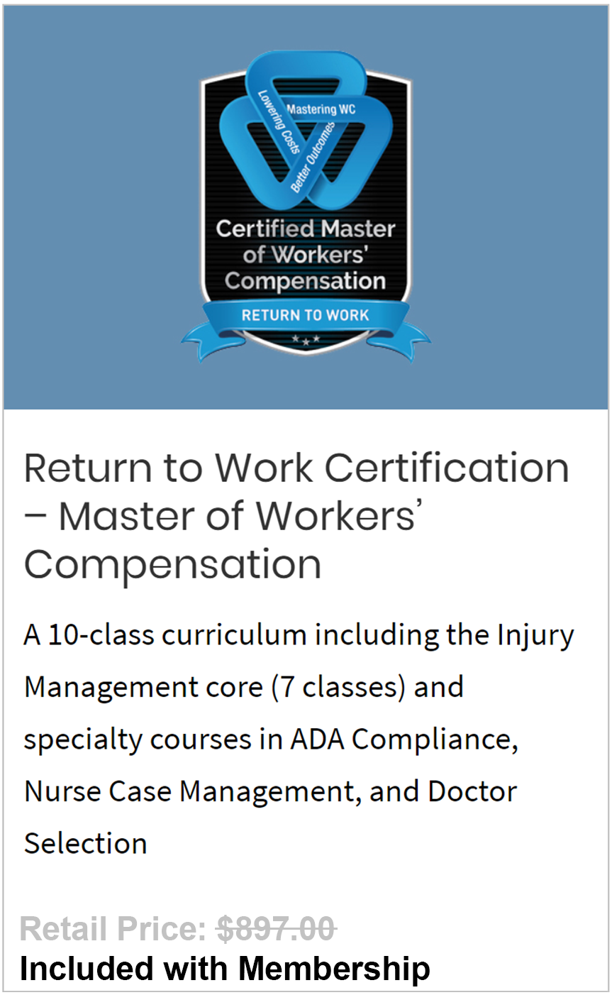 Return to Work Certification – Master of Workers' Compensation